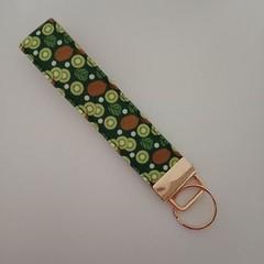 Kiwi fruit print key fob wristlet