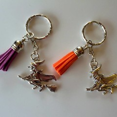 Witch Halloween key rings with tassels