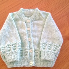 BABY MINT LACEY BAND CARDIGAN TO FIT 3-6 MONTHS IN BENDIGO 4 PLY 100% WOOL.