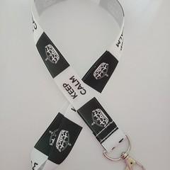 Keep calm black and white lanyard / ID holder / badge holder
