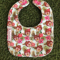 Bubble-o-Bill tropical hibiscus feeding Baby bib with snaps