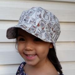 Adjustable Unisex Baby Sunhat legionnaire hat - Wise Owls