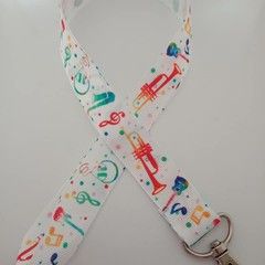 Musical instrument music print lanyard / ID holder / badge holder