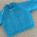 Aqua Cable Jumper - Size 0-3 months -Hand knitted in pure wool.