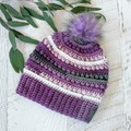 ADULT Ladies  Crocheted Beanie with Faux Fur Pompom