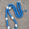 Royal blue/ white Necklace X Mas gift for Her