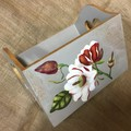 Carryall Wooden Box - painted with Japanese Magolias