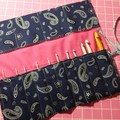 Crochet Hook Handy Wrap-Navy blue with white paisley print