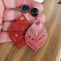 Filigree  and Faux Leather Earrings -  Boho Chic - Lightweight dangles