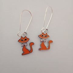 Orange and silver cat charm earrings