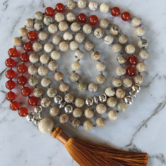 Protection mala necklace, African opal and carnelian gemstone beads, unisex