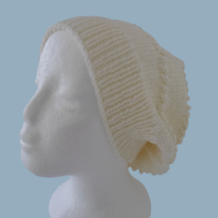 White Wool Slouchy Hat For Women in Medium to Large Adult Size