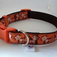 Orange and brown monkey print adjustable dog collar medium