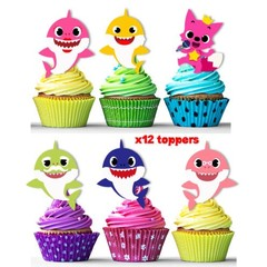 Baby sharks edible wafer stand up cupcake cake toppers images decorations