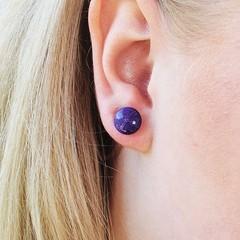 Pretty purple Studs- Earrings - Glossy resin - earring studs - 0