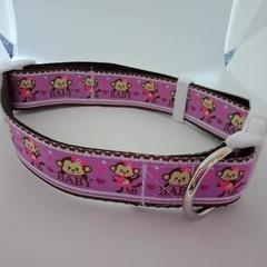 Purple monkey print adjustable dog collars