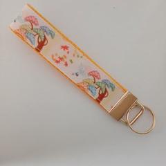Oriental tree print key fob wristlet