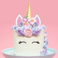 Large 2d unicorn horn & flowers pre-cut edible wafer cake topper decoration #147