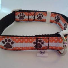 Orange and brown paw print adjustable dog collars
