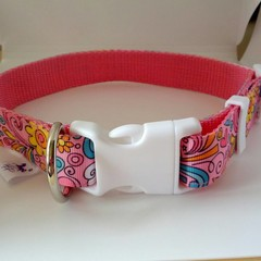 Pink hippy print adjustable dog collars medium / large