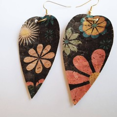 Floral Cork earrings - Flower earrings - Lightweight earring - Great for sensiti