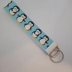 Penguin print key fob wristlet