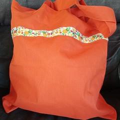 Orange tote bag / shopping bag with fruit trim