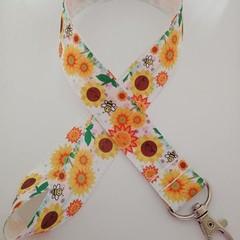 Orange and yellow sunflower lanyard / ID holder / badge holder