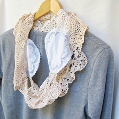 Romantic Boho Scarf Rustic Chic For Women Vintage Doilies Shabby Cream Blue