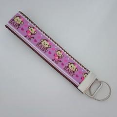 Purple monkey print key fob wristlet