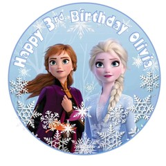 Frozen Elsa Anna  edible circle cake topper personalized image decoration