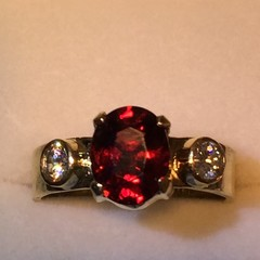 Red Spinel and Diamond Ring.
