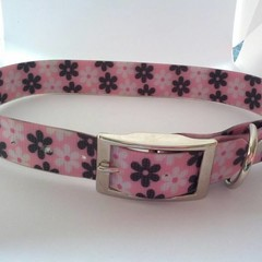 Pink black and white flower print PVC dog collars medium / large