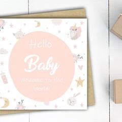 Baby girl card, Hello Baby Card, Baby girl shower