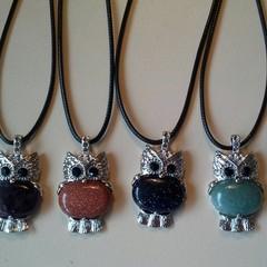 Owl stone charm necklaces
