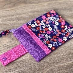 Coin Purse / Purse - Flowers Purple Pink