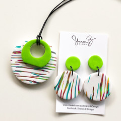 Polymer Clay Pendant and Earring Set