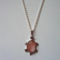 Pink / rose tiger stone silver turtle pendant necklace