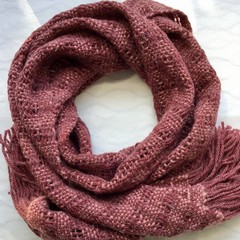 Woman's Wool Scarf, Handwoven, Dark Brick Red