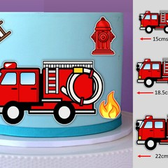 Fire Truck Engine Edible Icing Cut-out Cake Topper Image