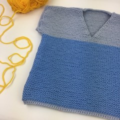 Pure Wool Hand Knitted Vest | 12 - 18 Months | Unisex | Baby Gift | Grey & Blue