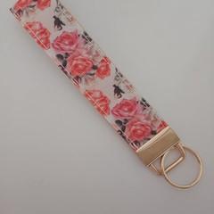 Orange rose key fob wristlet