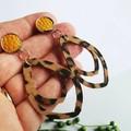 Leopard Print Faux Leather Earrings - Lightweight Dangles - Boho Chic earrings,