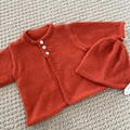 Orange Cardigan and hat - Newborn - pure wool - Hand knitted