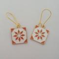 Orange and white mosaic tile earrings
