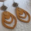 Mustard Yellow faux leather earrings, Statement Dangle Earrings for sensitive ea
