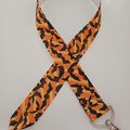 Orange and black bat Halloween print lanyard / ID holder / badge holder