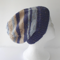 Blue and Beige Stripe Hat in Medium Adult Size Ready to Ship