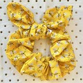 Large Yellow glitter bumble bee - bow scrunchies - women - children