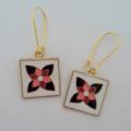 Orange and black gold flower mosaic earrings